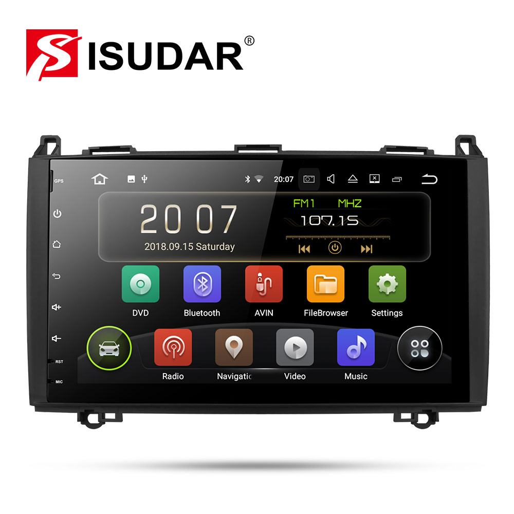 Isudar Car Multimedia Player GPS Android 9 2 Din DVD Automotivo Para Mercedes/Benz/Sprinter/Viano/ vito/B-classe/B200/B180 Rádio
