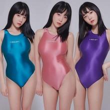 LEOHEX 2020 סקסי בגדי גוף סאטן מבריק בגד גוף גבוהה לחתוך חתיכה אחת בגדי ים נשים גליטר מבריק רחצה חליפות נקבה בגד ים