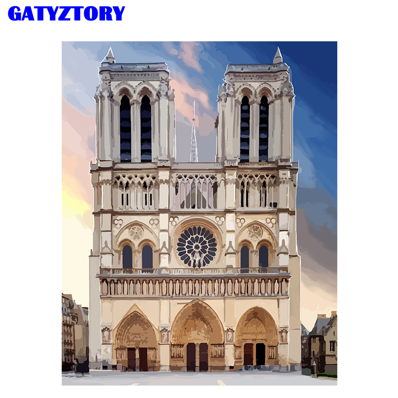 GATYZTORY Frame DIY Painting Castle Painting By Numbers Kit Modern Wall Art For Home Decor&Unique Gift For Friends