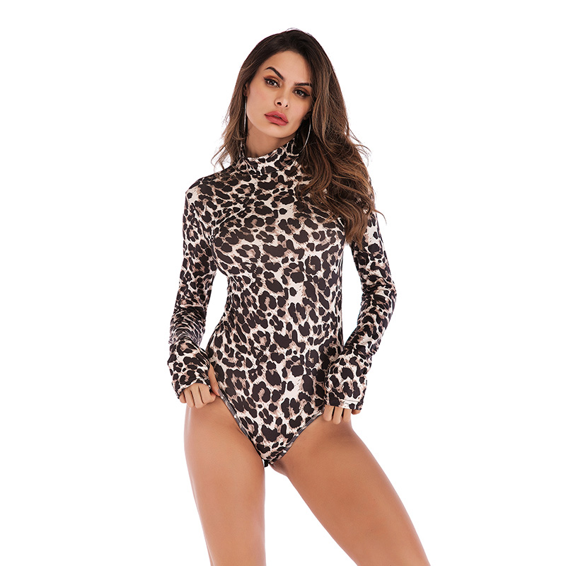 Bodysuit Women Leopard Turtleneck Long Sleeve Bodysuit Sexy Bodycon Fashion Romper Womens Jumpsuit Overall Knitted Combinaison