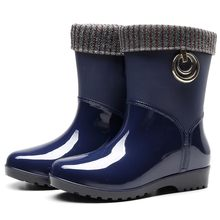 Punk Style Rainboots Stretch Fabric Mid-calf Warm Snow Boots Women's Non-Slip Outdoor Water Shoes woman waterproof Rain Boots(China)