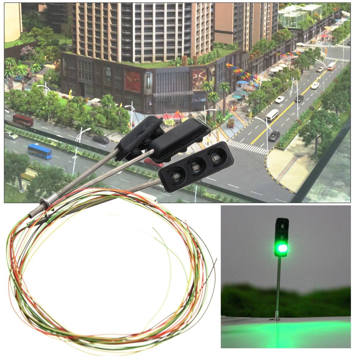 3Pcs Construction HO / OO Model 3-Light Traffic Lights Signal LED Circuit Model  50mm DIY For Architecture Street Train Railway