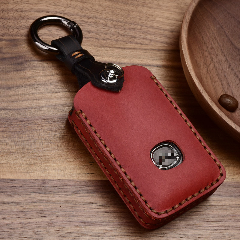 High qualityCrazy Horse Leather Key Case for Mazda 3 2020 2019 Accesorios Alexa 3 Button Protection Holder Buckle key cover