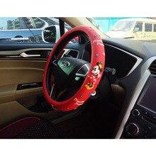 Чехол на руль с принтом Микки Мауса для автомобильного интерьера, Мультяшные милые чехлы на руль для девочек