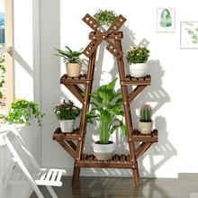 Винтажная деревянная подставка для растений, Балконный цветочный горшок, лестница, полка для улицы, садовая подставка, горшок для помещений, горшки для растений, домашний стеллаж для хранения, Декор