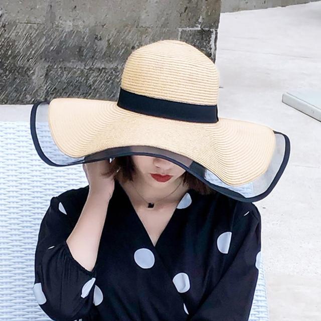 2021 new sun hats for women girls wide brim floppy straw hat summer bohemia beach cap ribbon chapeau black
