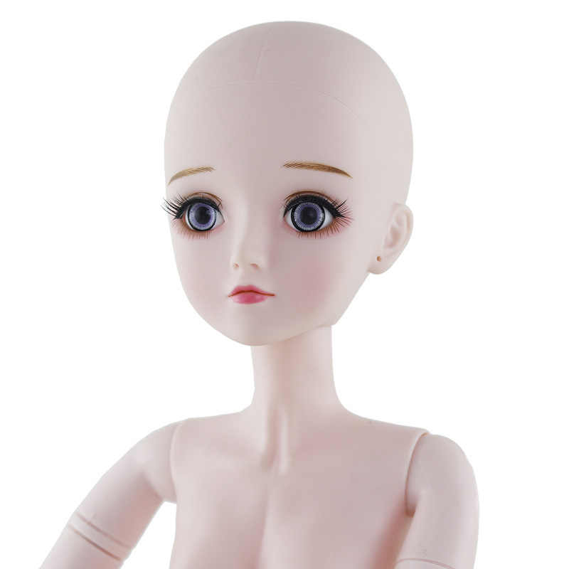 1//3 60cm BJD Dolls Female Girl Vinyl Body Face Make UP 19 Joint Move Blue Eyes