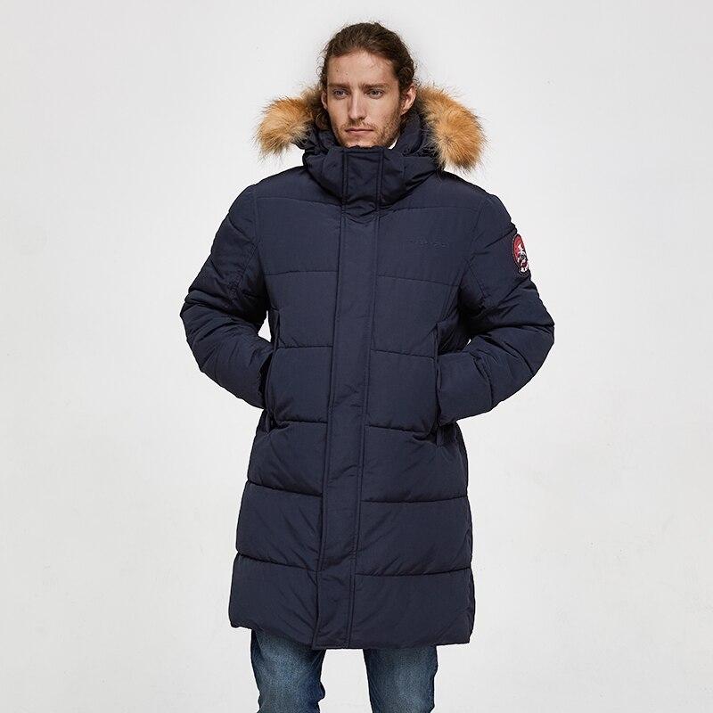TIGER FORCE Men Parka Winter Jacket Men Long Alaska Jacket Coat Raccoon Fur Hood Winter Male Jacket Thick Waterproof Outwear