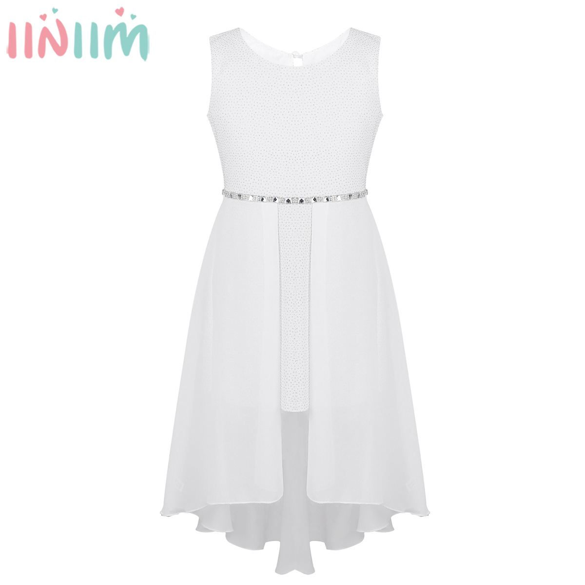 Iiniim Dress Rhinestone Waist-High-Low Sparkly Birthday Teen Kids Casual For Girls 6-14-Years title=