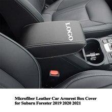 1pc microfibra couro centro caixa de apoio braço do carro capa almofada decoração protetor acessórios do carro para subaru forester 2019 2020 2021