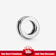 Circle Clip Charm 100% 925 Sterling Silver fit Original Pandora Bracelets Women DIY Brithday Sterling Silver Round beads Charm(China)