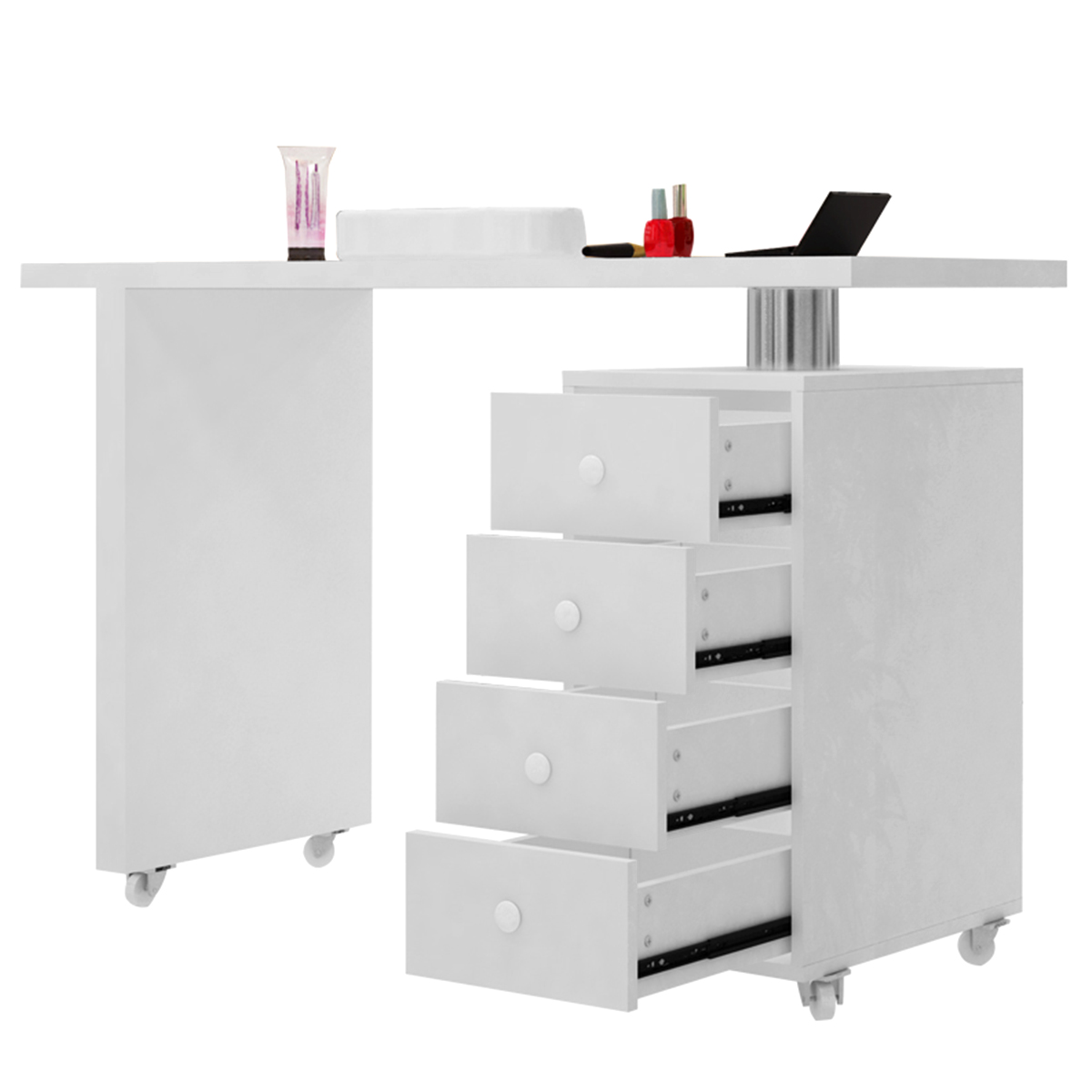 1set Manicure Table Profession Beauty Salon White Wooden Manicure Technicial Table Nail Station Desk With Four Drawers