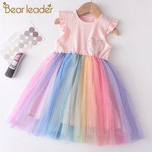 Bear leader/разноцветное платье для девочек; Новые летние праздничные