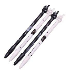 Image 1 - Черная ручка с наконечником для письма, 0,5 мм, 50 шт., гелевая чернильная ручка с котом, ручка для учеников, школы, офиса, длина 170 мм, внешняя ручка с котом