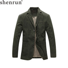 Shenrun Mannen Casual Blazer Militaire Jas 100% Katoen Lente Herfst Suits Jassen Zwart Kaki Legergroen Blazers Single Breasted(China)