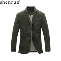Shenrun Men Casual Blazer Military Jacket 100% Cotton Spring Autumn Suits Jackets Black Khaki Army Green Blazers Single Breasted