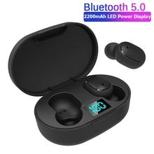 E6s TWSหูฟังไร้สายสำหรับRedmiหูฟังจอแสดงผลLED V5.0ชุดหูฟังพร้อมไมโครโฟนสำหรับiPhone Samsungพร้อมกล่อง