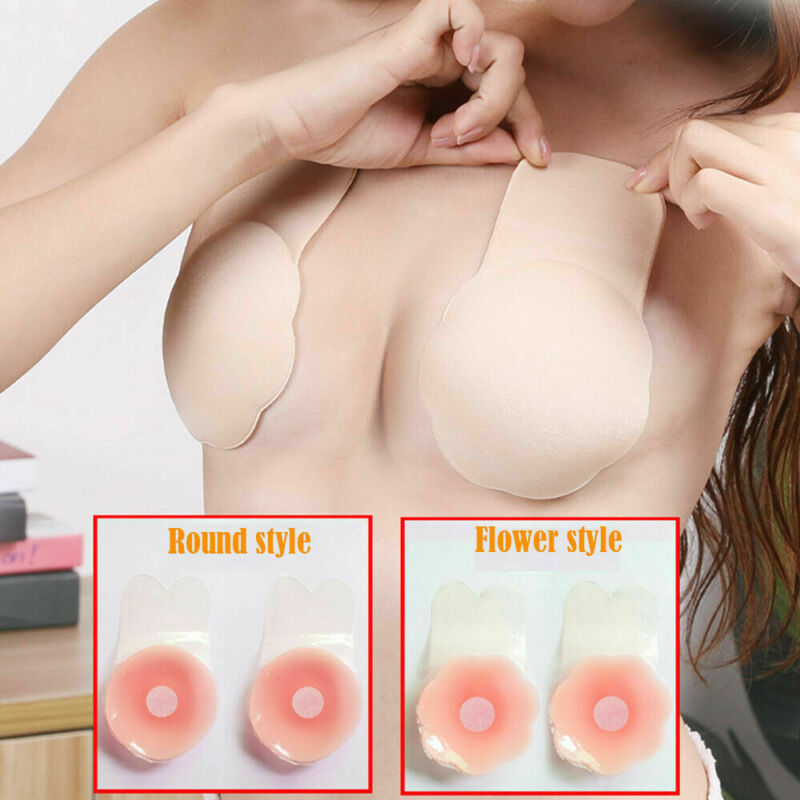1//2Pair Invisible Breast Boob Lift Tape 2 Wing Silicone Bra Nipple Cover Sticker