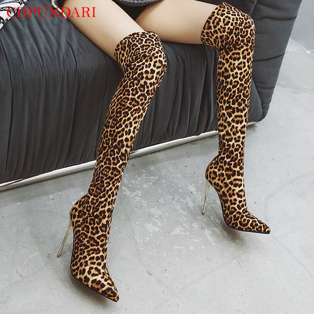 Sexy Super High heels thigh high boots women over the knee boots Ladies Autumn Long boots shoes Leopard print black Silver