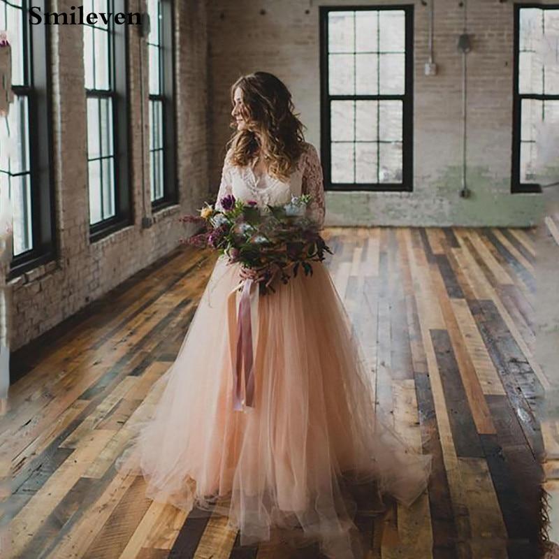 Smileven Lace Wedding Dresses Long Sleeve A Line Boho Bride Dresses Wedding Gowns Appliqued Vestido De Noiva