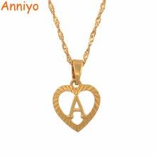 Anniyo A-Z ожерелья с буквами золотого цвета, подвеска с буквами алфавита для женщин и девочек, английские ювелирные изделия, подарки#114106P