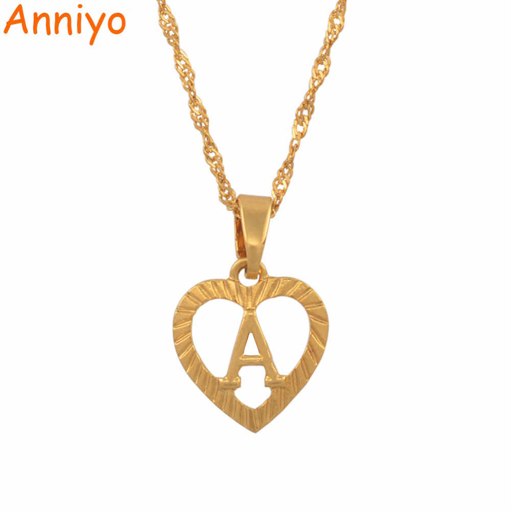 Anniyo A-Z Letters Necklaces Gold Color Charm Alphabet Pendant for Women Girls English Initial Jewelry Gifts #114106P