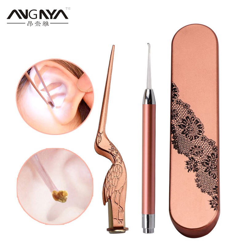 LED Light Ear Pick Ear Wax Removal Earpick Nose Clean Clip For Baby Adults Ear Hygiene Care Set Tweezers Picks Wax Remover Tools