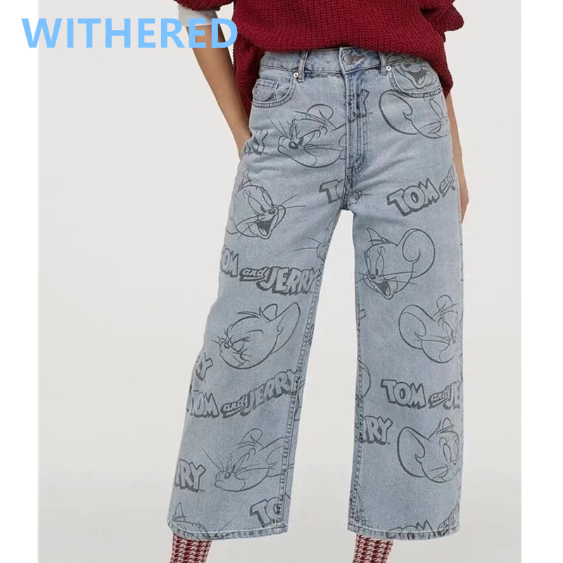 Withered England High Street Vintage Cute Cartoon Mouse Cat Loose Jeans Woman High Waist Jeans Ankle Length Harem Jeans Women