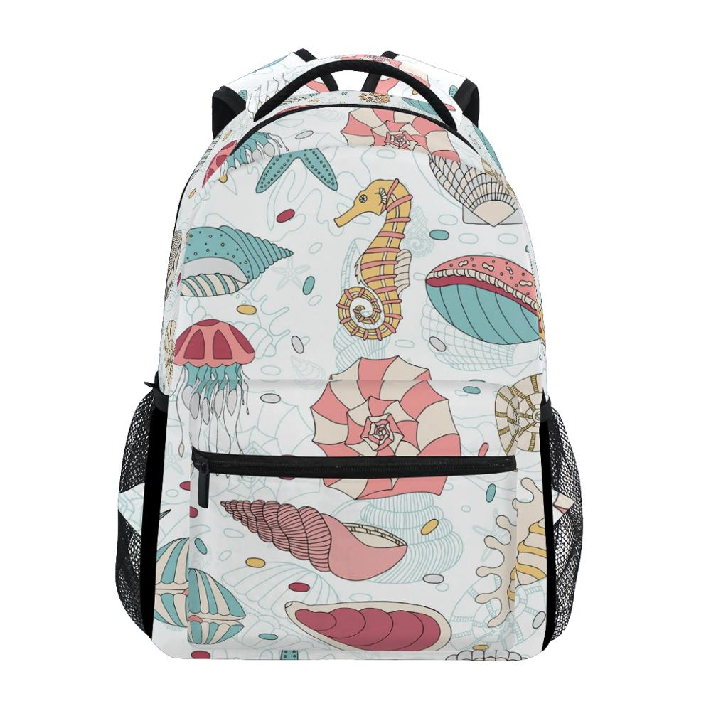 ALAZA New School Bags Students Backpack Children Seahorse Printing Backpack For Teenager Boy Girl Book Bag Women Laptop Backpack