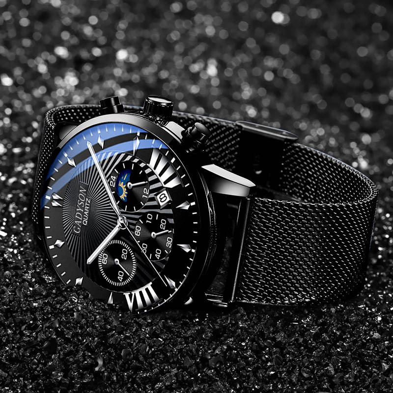 2020  Men's Watch Fashion Business Stainless Steel Mesh Belt Roman Quartz Watch Sport Wristwatch Gift For Men Reloj Hombre