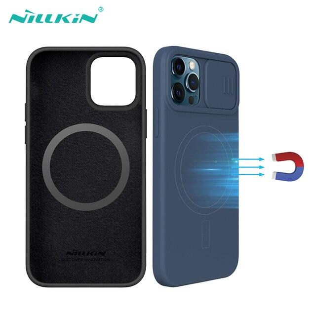Voor Iphone 12 Pro 12 Pro Max Case Nillkin Camshield Zijdeachtige Magnetische Case Zachte Siliconen Slide Camera Bescherming Cover Voor IPhone12
