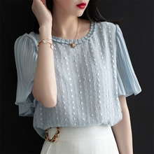 Women's Spring Summer Style Chiffon Blouses Shirt Women's Solid Color Button O-n