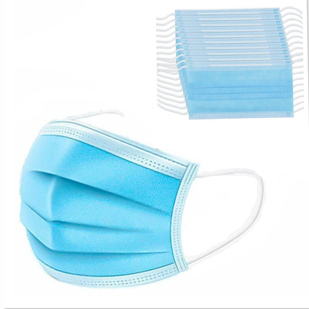 10 Pcs Face Mouth Anti Dust Mask Disposable Protect 3 Layers Filter Dustproof Earloop Non Woven Mouth Masks 48 Hours