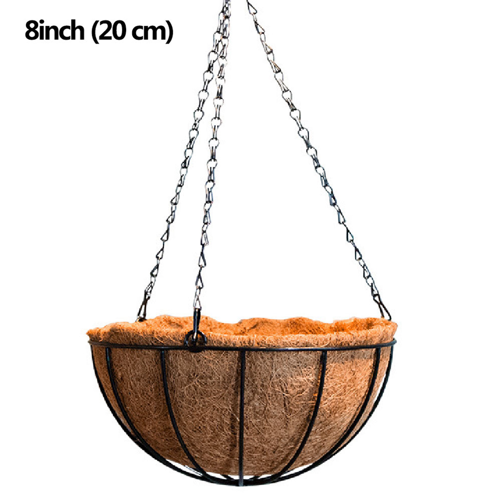 8 Inch Wire Coconut Palm Baskets Flowers Plants Fleshy Flower Pot Chain Hanging Decoration For Garden Porch Balcony Indoor
