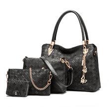 4pcs / Set Women Bags High Quality Ladies Handbags PU Leather Shoulder Messenger Luxury Fashion Tote Bag Bolsa Purse