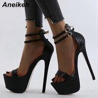 Aneikeh nouvelle sandale femmes été talons fins Sexy plate-forme talons hauts cheville boucle chaussures de fête mariage peu profonde zapatillas mujer