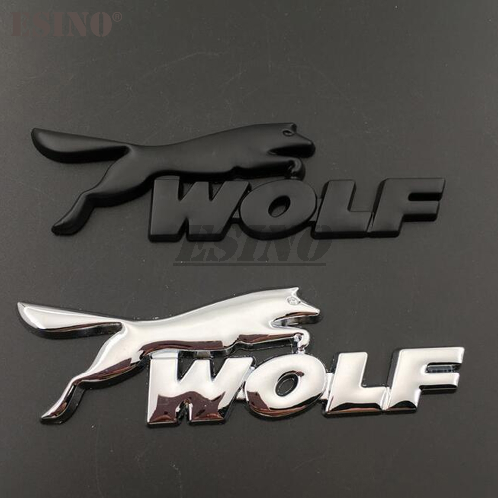3D Wolf Racing Car Trunk Zinc Alloy Emblem Rear Body Tailgate Accessories Adhesive Styling Badge for Ford Focus ST Mustang GT