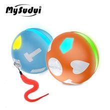 Электрическая игрушка для домашних животных, вращающийся мяч для кошек с Usb и светодиодной подсветкой, интеллектуальный игрушечный мяч для прыжков, интерактивная автоматическая игрушка для собак