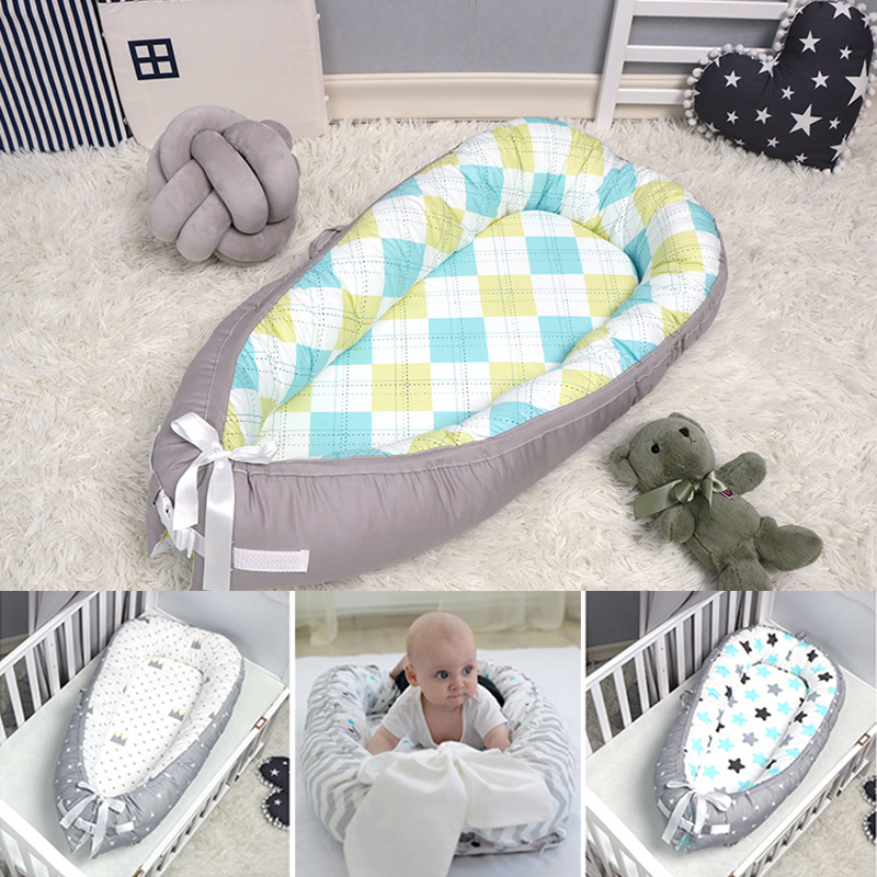 80*55cm Portable Bionic Bed Toddler Cotton Cradle Bassinet Bumper Foldable Sleeper Babynest For Newborn Travel Bed Baby Bumper