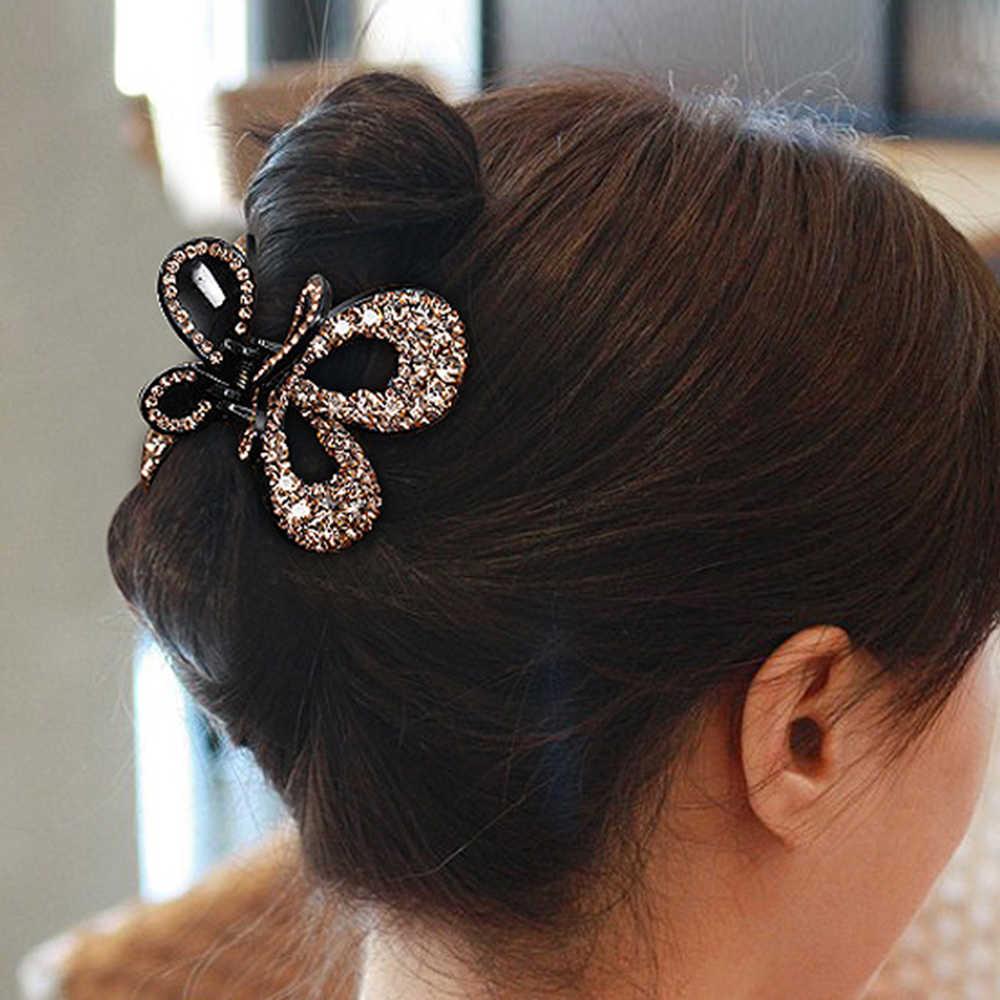 Nouveau femmes Vintage papillon épingle à cheveux élégant cristal griffe de cheveux crabe coloré brillant strass noeud noeud pinces à cheveux bijoux de cheveux