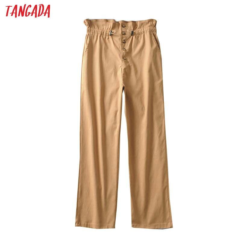 Tangada Women Vintage High Waist Solid Trousers Pants Strethy Waist Casual Fashion Female White Pants 2A05