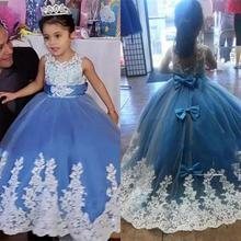 New Princess Ball Gown Flower Girl Dresses White Lace Appliqued Jewel Neck With Bow Floor Length Girl Pageant Birthday Dress new cute white lace pink fluffy tulle baby girls birthday party gown ankle length with big bow 2018 flower girl dress any size