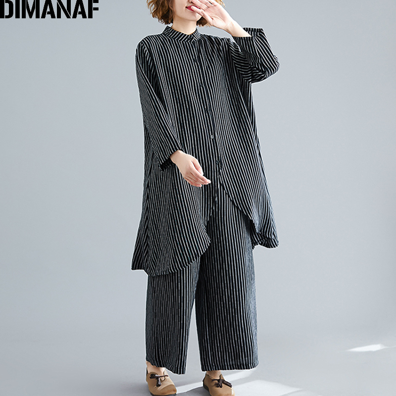 DIMANAF Plus Size Women Sets Cotton Suit Autumn Lady Tops Shirts Button Loose Long Pants Print Striped Big Size Female Clothes