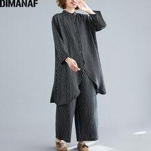 DIMANAF Plus Size Women Sets Cotton Suit Autumn Lady Tops Shirts Button Loose Long Pants Print Striped Big Female Clothes