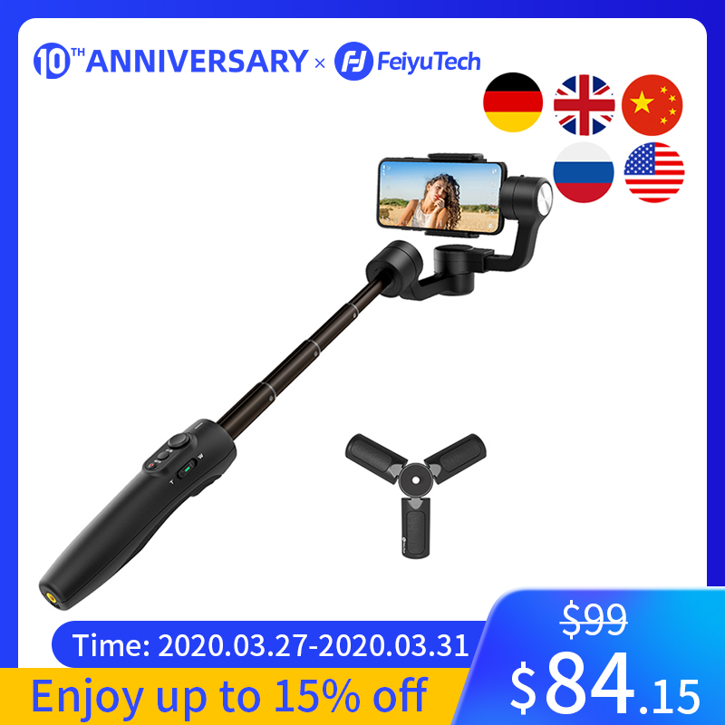 FeiyuTech Vimble 2S poche Smartphone cardan trépied stabilisateur Selfie bâton avec 180mm pôle pour iPhone X 8 7 Samsung XIAOMI