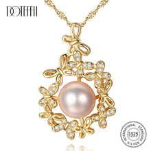 DOTEFFIL 925 Silver Chain butterfly Pearl Necklace Pendant Natural Freshwater Pearl Jewelry Link Party Women Gift Free Shipping