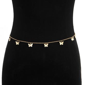 Srebrny złoty motyl pasy dla kobiet pas biodrowy pasy elegancki metalowy Vintage spodnie z wysokim stanem pasy Harajuku Fashion Streetwear tanie i dobre opinie CETIRI Dla dorosłych WOMEN Moda Zwierząt chain belt