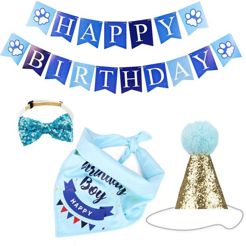 Собака День рождения товары шляпа с днем рождения баннер бандана blingbling бантик для домашних животных День рождения украшения