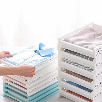 Camisas suéteres bandeja hogar dormitorio ropa estante de almacenamiento apilable ventilado cajón estilo organizador-tamaño L (azul)