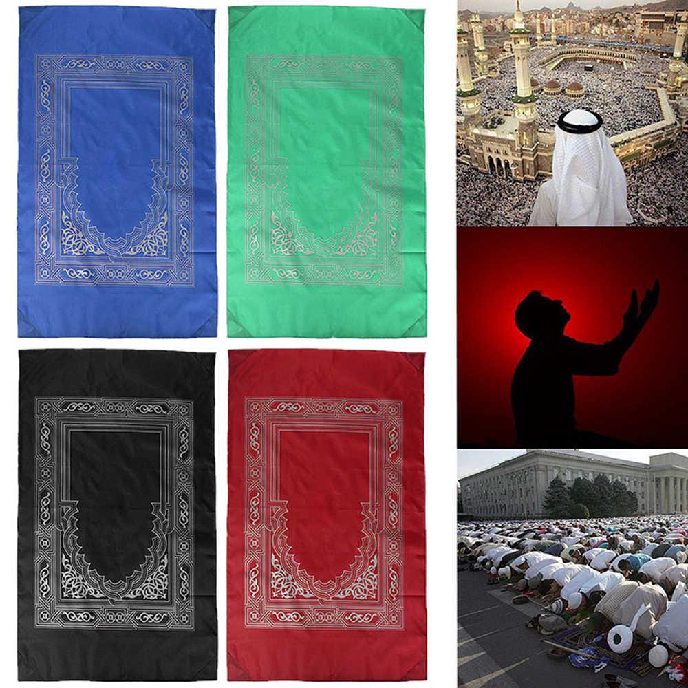 Moslim Gebed Tapijt Polyester Draagbare Gevlochten Matten Gewoon Print Met Kompas In Pouch Reizen Huis Nieuwe Stijl Mat Deken 100*60 Cm
